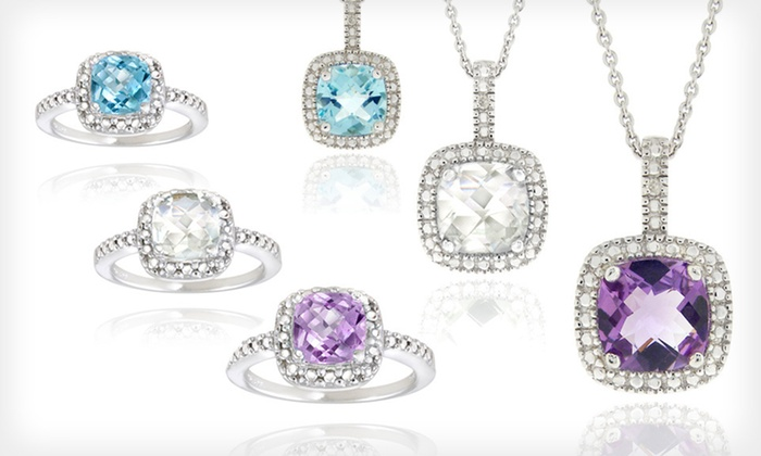 Diamond and Gemstone Jewelry: $20 for a Diamond and Gemstone Ring or Necklace ($75 List Price). 15 Options Available. Free Shipping and Free Returns.
