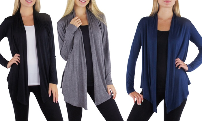 Free to Live Lightweight Cardigan 3-Pack: 3-Pack of Free to Live Lightweight Cardigans in Black, Charcoal, and Navy. Free Returns.