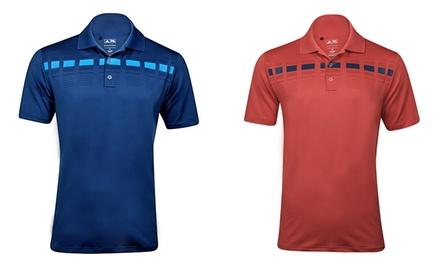 adidas Men's Puremotion Geo Plaid Striped Short-Sleeve Polo