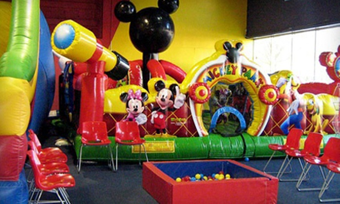 Go Bananaz - Raleigh: Unlimited Inflatables Playtime with Juice, Popcorn, and Game Tokens for One or Two at Go Bananaz (Up to 61% Off)