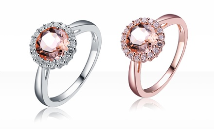 3 CTTW Morganite and Diamond Ring with Platinum or 18K Rose Gold Plating