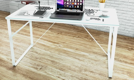 Glass Desk with World Map or Rainbow Pattern