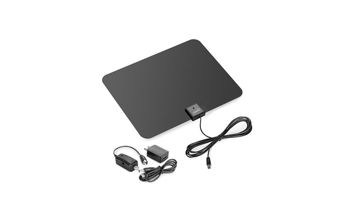 Amplified HDTV Antenna with 25-, 30-, 40-, 50-, or 60-Mile Range