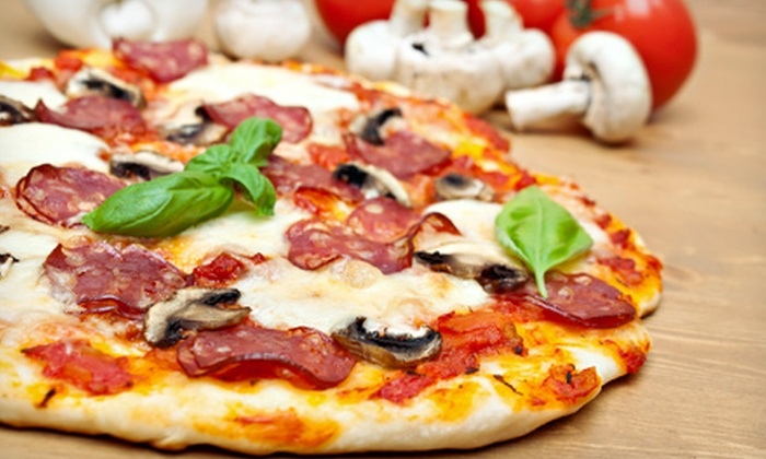 Basil Docs Pizza - Multiple Locations: Gourmet Pizzas, Calzones, and Salads at Basil Doc's Pizzeria (Half Off). Two Options Available.