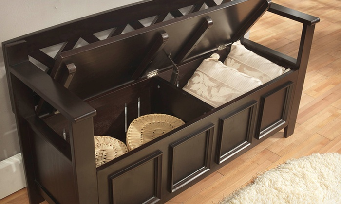 Simpli Home Amherst Entryway Storage Bench ... & Simpli Home Storage Bench | Groupon Goods