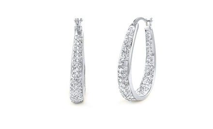 18K White-Gold Plated Swarovski Elements Hoop Earrings