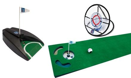 PGA Tour Golf Chipping Net, Pure Putt and 6ft Putting Mat Game Bundle