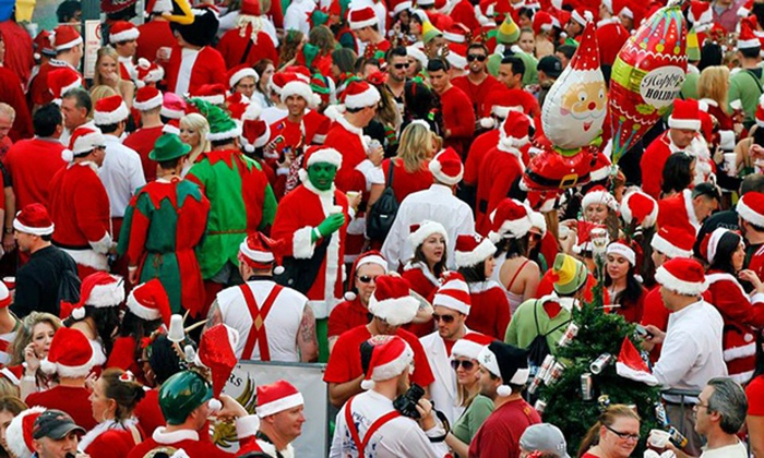 Running of the Santas - The Playground Pier: Pub-Crawl Admission for Two or Four from Running of the Santas on Saturday, December 5 (Up to 50% Off)