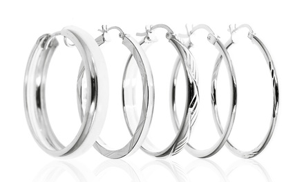Solid Sterling Silver Diamond Cut Hoops