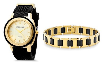 Men's 18K-Gold-Plated Stainless Steel Watch and Bracelet Set
