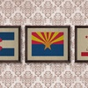 Framed State Flags on Antique Linen