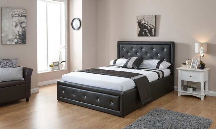 Diamante Ottoman Bed with Optional Tufted Bonnell Mattress