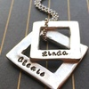 Customizable Double Square Necklace in Pewter