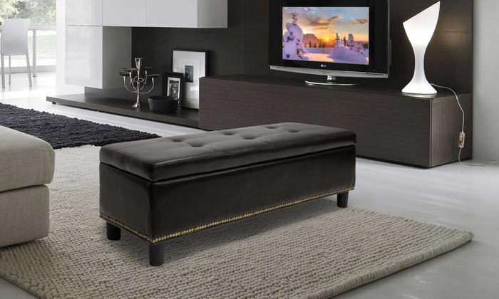Whitley Bonded-Leather Storage-Bench Ottoman with Nail-Head Trim - Whitley Bonded-Leather Storage-Bench Ottoman With Nail-Head Trim