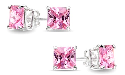 1 or 2 Pairs of 2.5 CTW Princess-Cut Pink Sapphire Stud Earrings from $7.99–$9.99