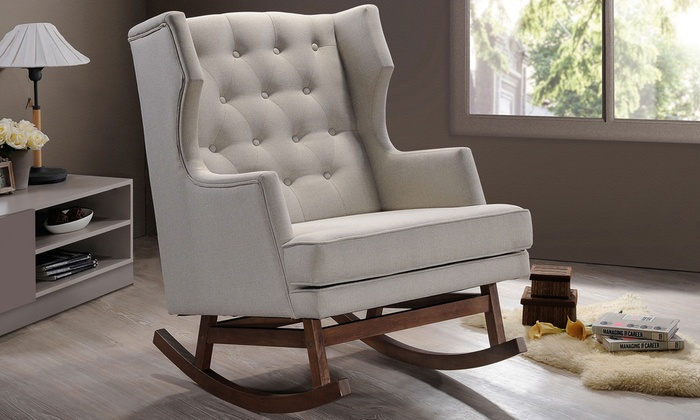 Superbe Iona Midcentury Modern Fabric Upholstered Button Tufted Rocking Chair ...
