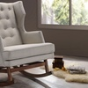 Iona Midcentury Modern Fabric-Upholstered Button-Tufted Rocking Chair