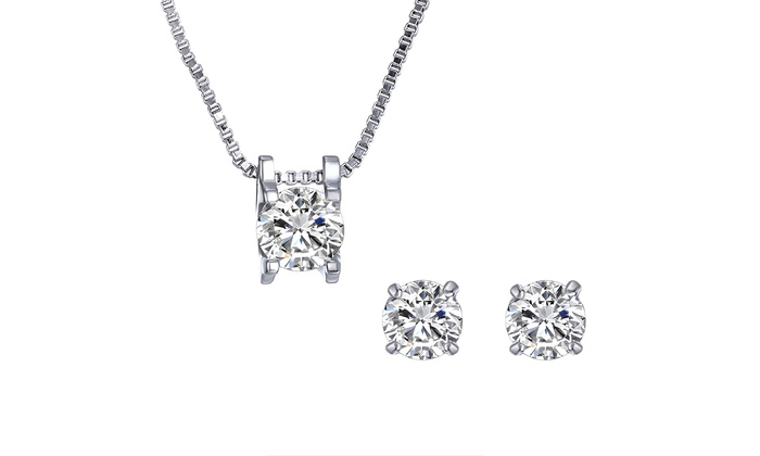 Swarovski solitaire jewelry set groupon goods solitaire jewelry set with swarovski elements 400 ctw solitaire pendant and stud earrings set with mozeypictures Image collections