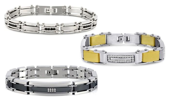 Men's Cubic Zirconia Bracelet: Men's Cubic Zirconia Bracelet in Stainless Steel