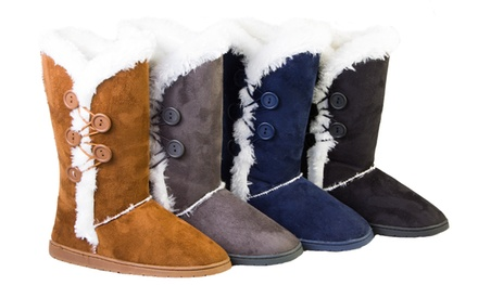 Women's Faux-Fur Button Boots with Memory Foam Padding