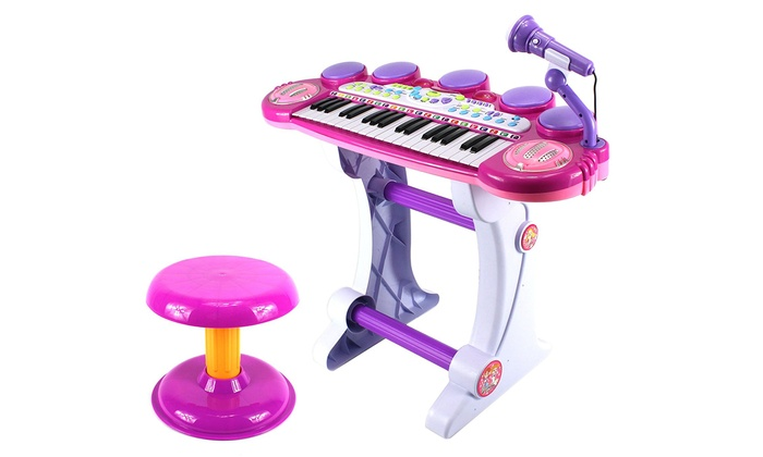 Princess Voice Synthesizer Toy Keyboard Piano Playset with Microphone