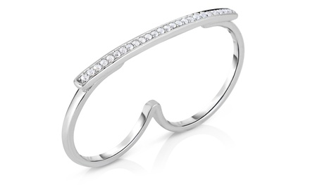 1/5 CTTW Round Diamond Two-Finger Ring in Sterling Silver