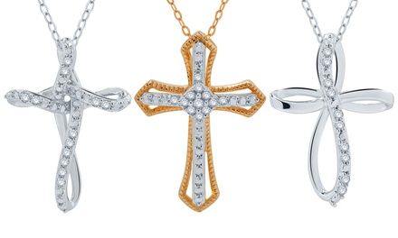 1/10 CTTW Diamond Cross Pendant in Sterling Silver