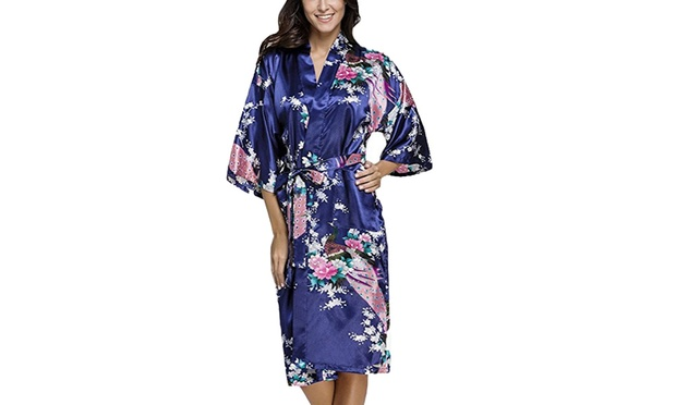 Womens Japanese Inspired Silk Blend Kimono Dressing Gown: One ($17) or Two ($27) (Dont Pay up to $119.9)