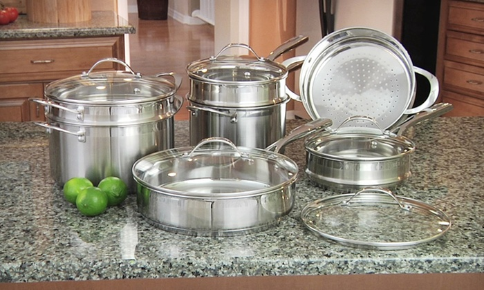 cat cora 12 piece cookware set groupon goods. Black Bedroom Furniture Sets. Home Design Ideas