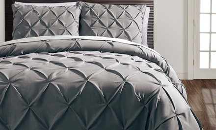 3-Piece Diamond-Pintucked Duvet Set