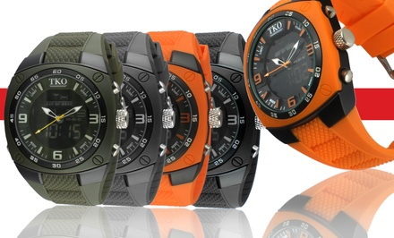 Analog-Digital Men's Rubber Watch with Stopwatch Function