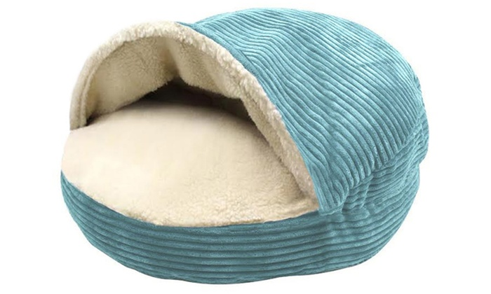 Round Corduroy Cave Pet Bed with Plush Sherpa Interior