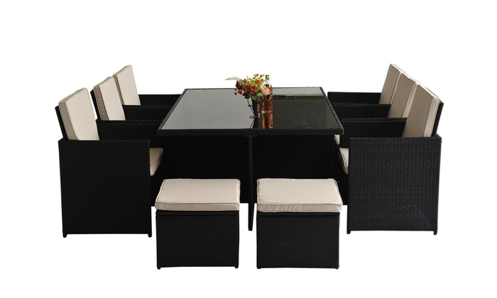 11pc rattan furniture dining set groupon goods. Black Bedroom Furniture Sets. Home Design Ideas