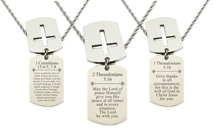 Men's Solid Stainless Steel Scripture Tag Necklace by Free Essence
