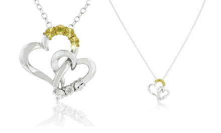 DiAura 2-Tone Diamond Accent Heart Pendant Necklace In Sterling Silver