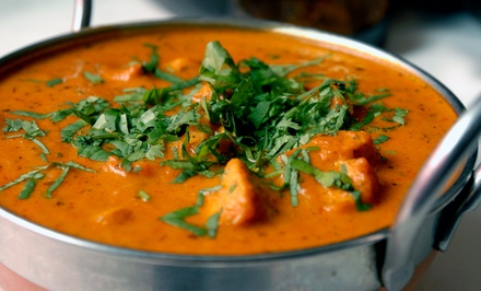 $29 for Indian Dinner for Two Including One Appetizer, Two Entrees and Two Desserts at Cafe Taj (Up to 49% Off)
