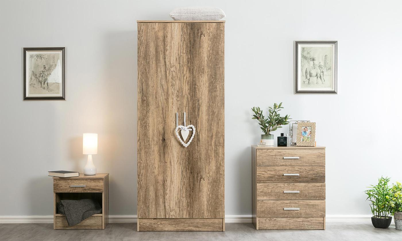Three-Piece Diana Rustic Oak Bedroom Set