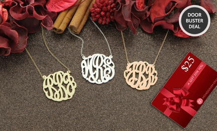 Personalized Monogram Necklace and Free $25 Gift Card from Monogram Online. Multiple Styles from $39.99–$49.99.