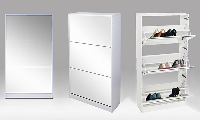 Attractive 3 Drawer Mirrored Shoe Cabinet ...