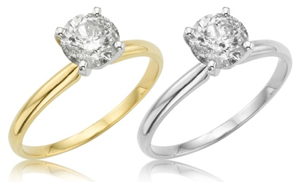 1 CTW Diamond Solitaire Ring with 14-Karat White or Yellow Gold.