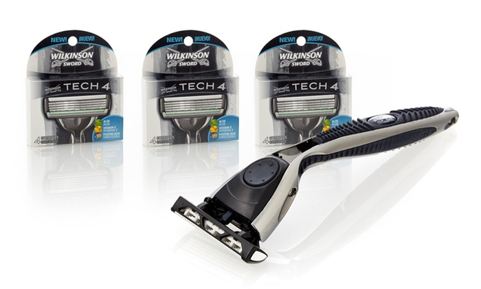 Wilkinson Tech 4 Razor Set: Wilkinson Tech 4 Razor Set and14 Replacement Blade Cartridges.Free Shipping and Returns.