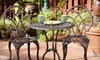 Charming Bistro Set or Patio Bench: $109 for a Charming Three-Piece Aluminum Bistro Set or Patio Bench ($199 Value)