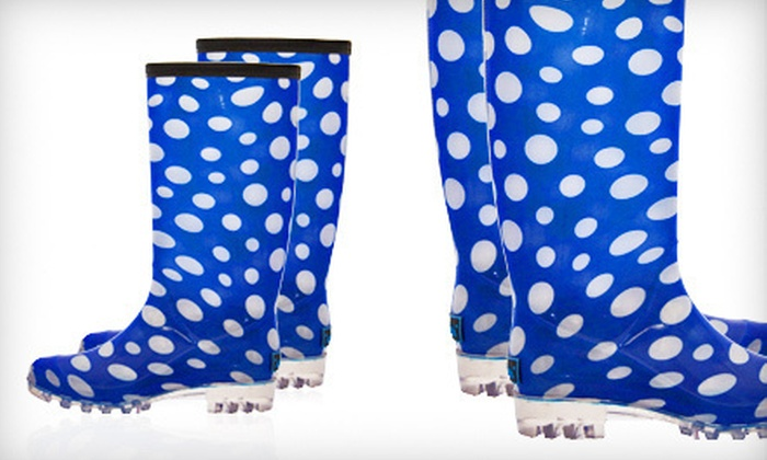 BootsiTootsi Polka Dot Rain Boots: $24 for a Pair of BootsiTootsi Blue-and-White Polka-Dotted Rain Boots ($48 List Price). Five Sizes Available. Free Shipping.