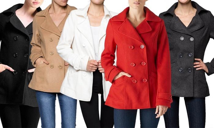 Women's Classic Pea Coat | Groupon