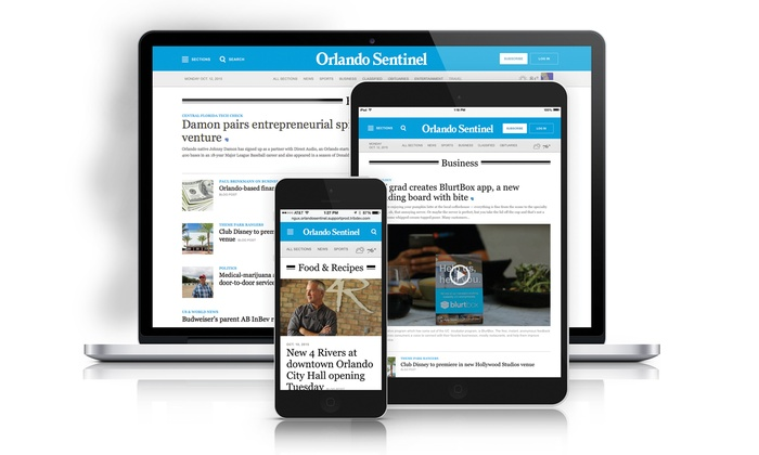 """Orlando Sentinel: One-Year or Two-Year Unlimited Digital Access Subscription to the """"Orlando Sentinel"""" (Up to 53% Off)"""