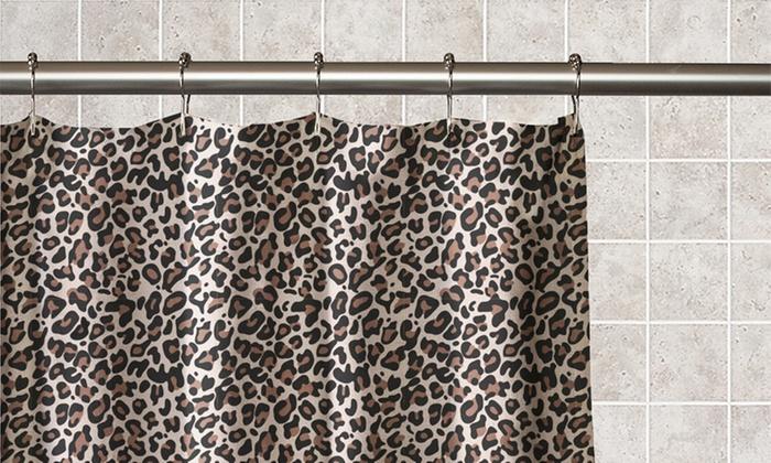 Animal Print 13 Piece Waterproof PEVA Shower Curtain Set