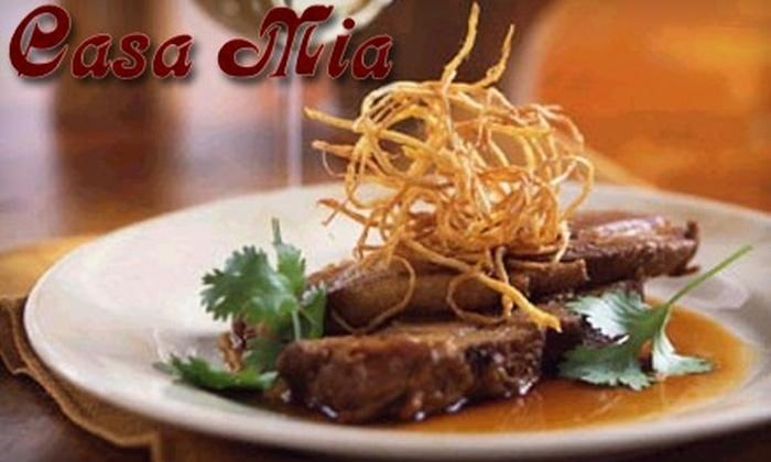 Casa Mia Restaurant - South End: $25 for $50 Worth of Authentic Italian Cuisine at Casa Mia Restaurant