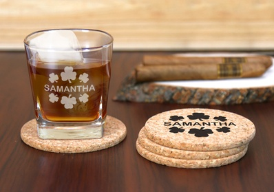 Custom Cork Coasters and Whiskey Glass from Monogram Online ad78de0c-7bb4-4e3f-a6d0-fc0f33c9068b