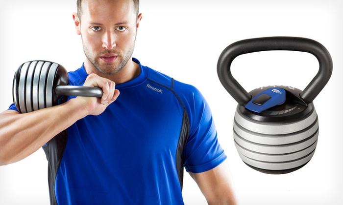 Reebok Adjustable-Weight Kettlebell Set: Reebok Toning Adjustable-Weight Kettlebell with DVD. Free Returns.