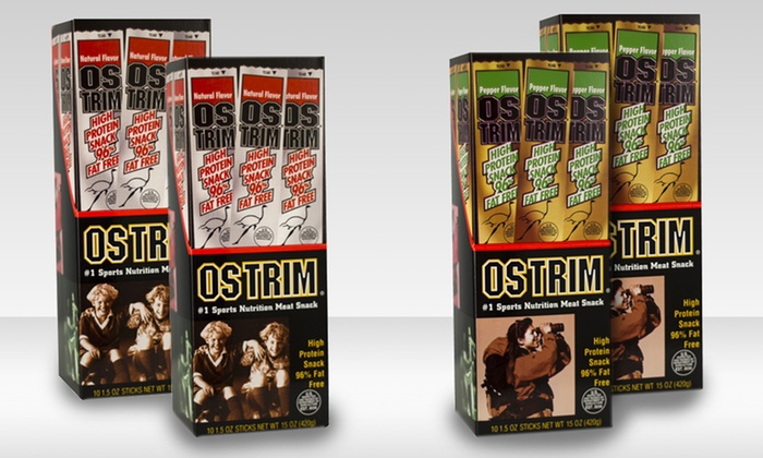 Ostrim Beef and Elk or Beef and Ostrich Snack Sticks: 2 10-Packs of Ostrim Beef and Elk or Beef and Ostrich Snack Sticks. Multiple Flavors Available.